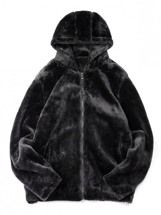 new Solid Color Casual Zip Up Faux Fur Jacket - BLACK L