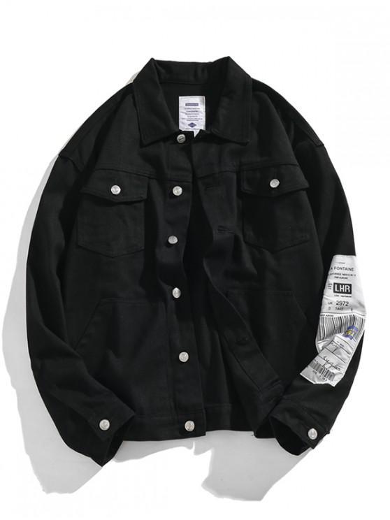 Applique gota del hombro por carretera Denim Jacket - Negro 2XL