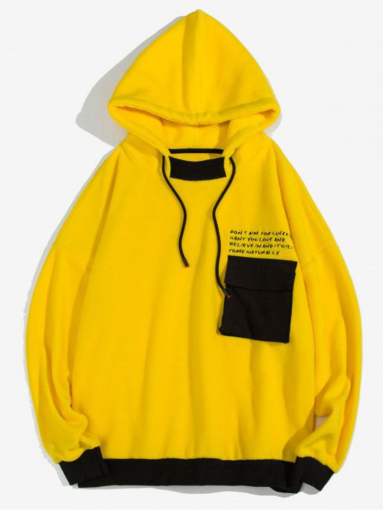fancy Letter Print Contrast Trim Fluffy Pocket Drawstring Hoodie - YELLOW XL