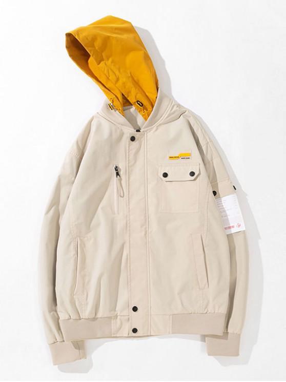 Chaqueta con capucha de bolsillo colorblock - Blanco Cálido M