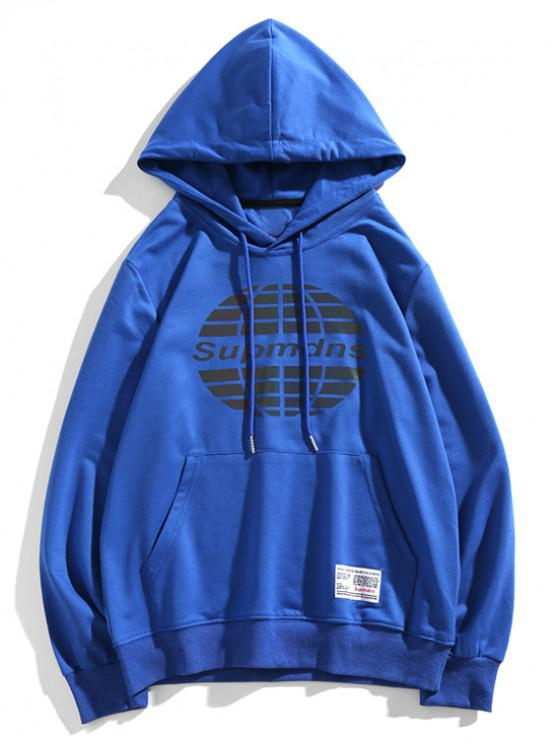 online Ball Graphic Front Pocket Drawstring Hoodie - BLUE XS
