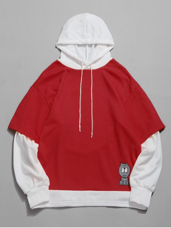 latest Cartoon Printed Color Spliced Casual Hoodie - RED XL