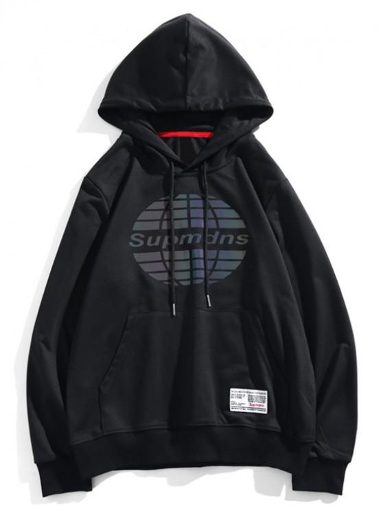 buy Ball Graphic Front Pocket Drawstring Hoodie - BLACK XS