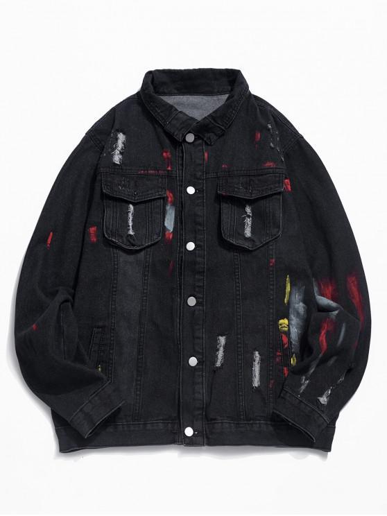 trendy Letter Print Pocket Decorated Denim Jacket - BLACK XS
