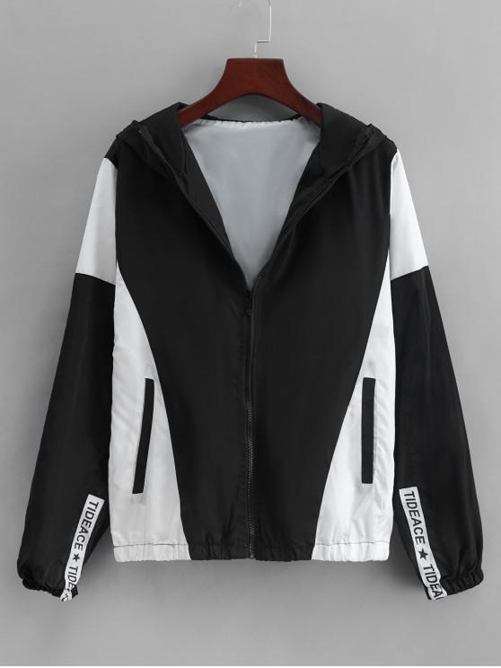 women Colorblock Panel Casual Hooded Jacket - BLACK 2XL