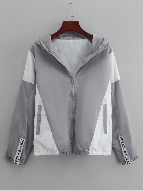 fancy Colorblock Panel Casual Hooded Jacket - GRAY CLOUD L