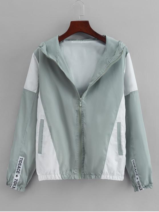 buy Colorblock Panel Casual Hooded Jacket - LIGHT GREEN L