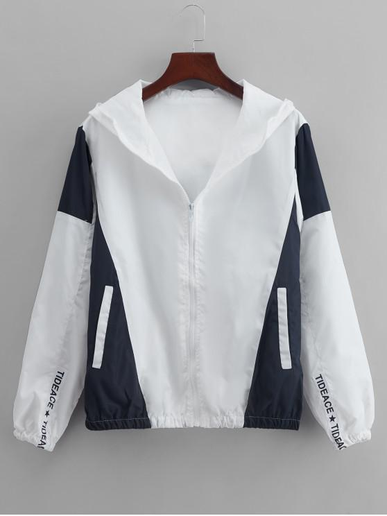 ladies Colorblock Panel Casual Hooded Jacket - WHITE L