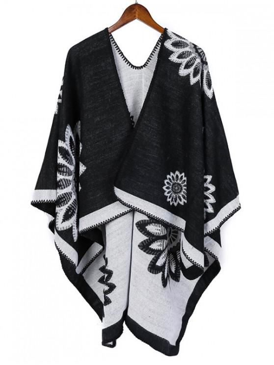 fashion Color-blocking Flower Print Long Shawl - BLACK