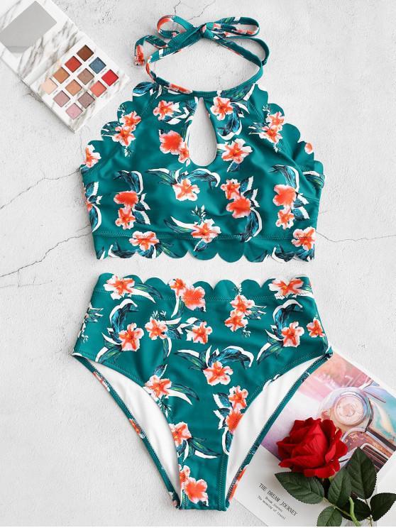women ZAFUL Keyhole Scalloped High Waisted Floral Tankini Swimsuit - MEDIUM AQUAMARINE XL