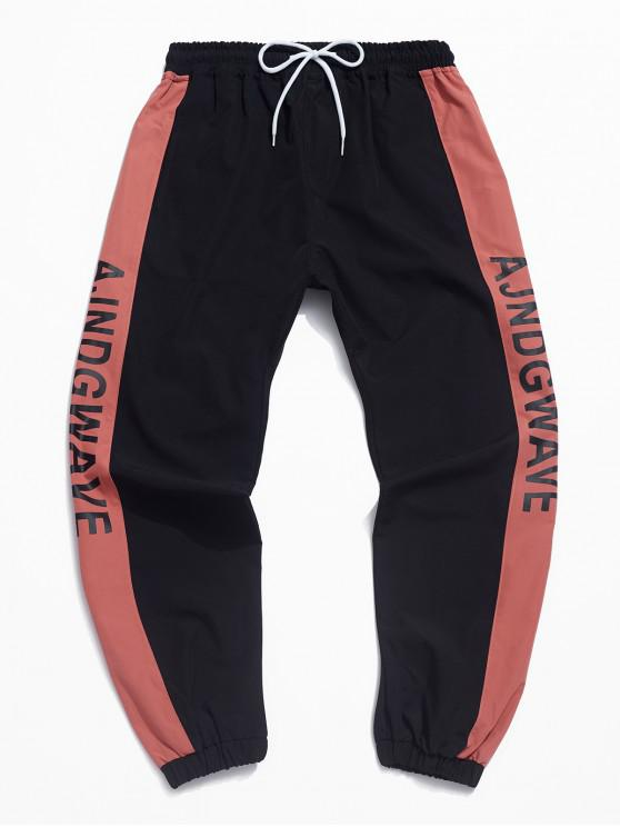 chic Color Spliced Letter Printed Sports Jogger Pants - RED L