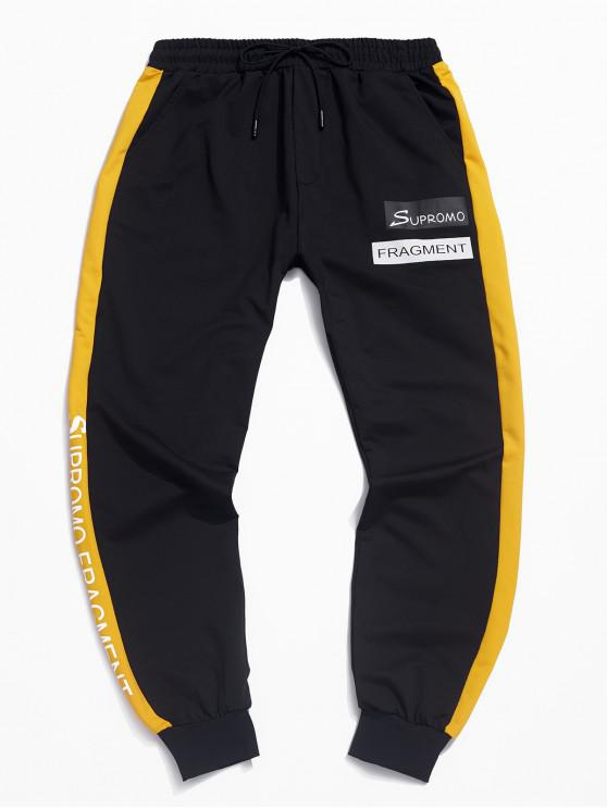 shops Casual Color Spliced Letter Printed Jogger Pants - YELLOW L