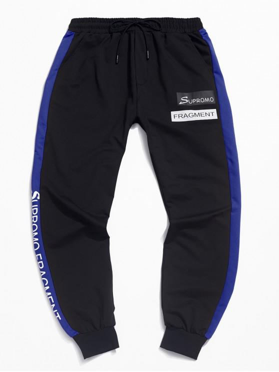latest Casual Color Spliced Letter Printed Jogger Pants - BLUE M