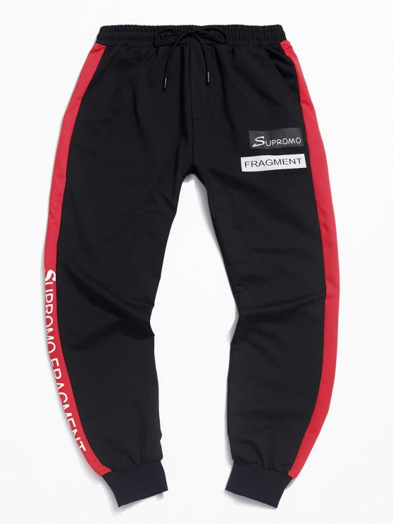 online Casual Color Spliced Letter Printed Jogger Pants - RED L