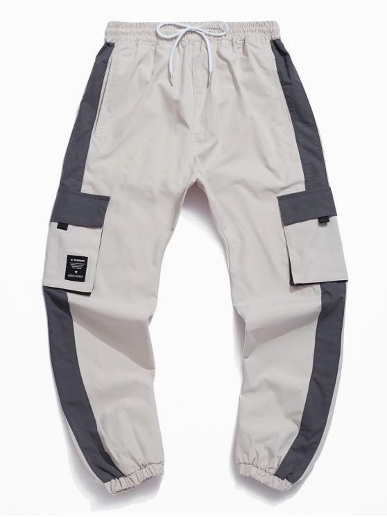 Multi-bolsillo de la decoración del basculador Pantalones Casual - Gris L