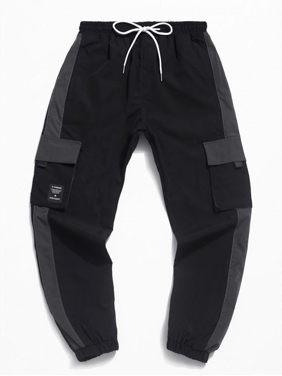 Multi-bolsillo de la decoración del basculador Pantalones Casual - Negro S