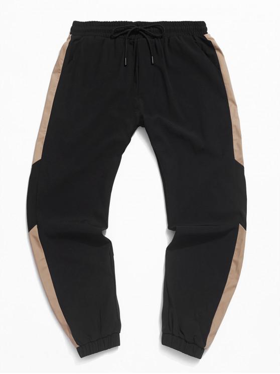 online Color-blocking Drawstring Jogger Pants - BLACK XS