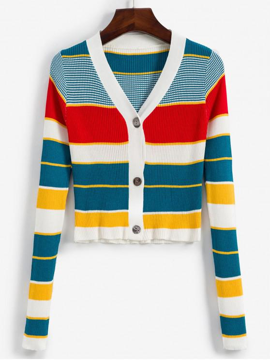chic Button Up Colorful Stripes V Neck Cardigan - MULTI-A ONE SIZE