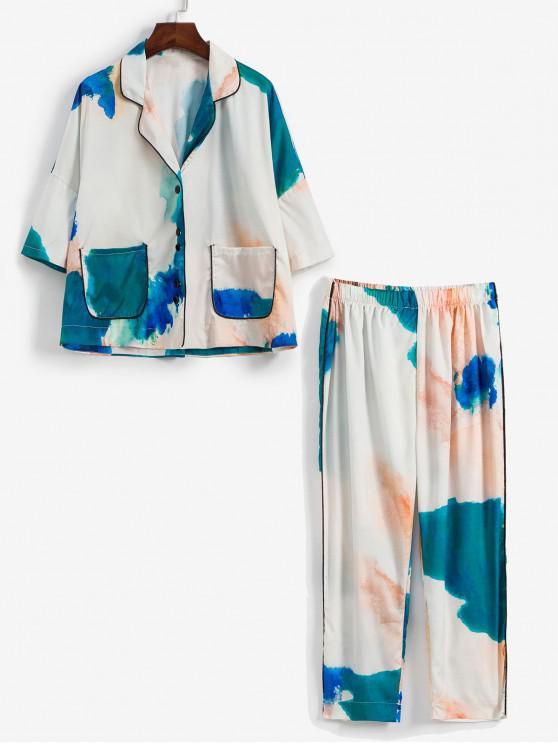 unique Ink Painting Pocket Drop Shoulder Pajama Pants Set - MULTI-A ONE SIZE