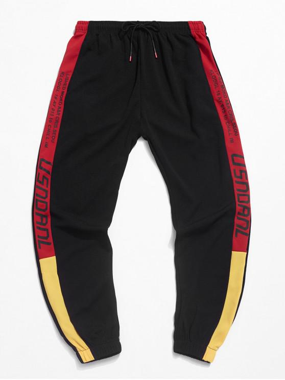 hot Color Side Decoration Casual Jogger Pants - RED XS