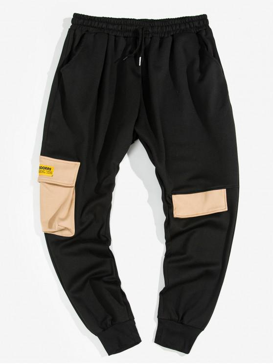 chic Contrast Pocket Waist Drawstring Jogger Pants - BLACK L