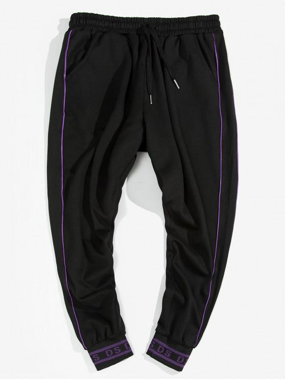 women Piped Letter Hem Drawstring Jogger Pants - BLACK XL