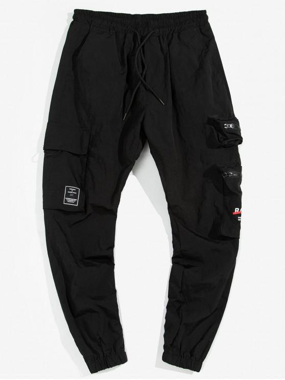 lady Zip Pockets Letter Text Cargo Jogger Pants - BLACK M