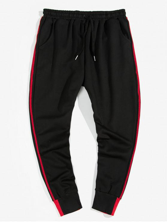 latest Striped Smile Strap Casual Jogger Pants - RED XL
