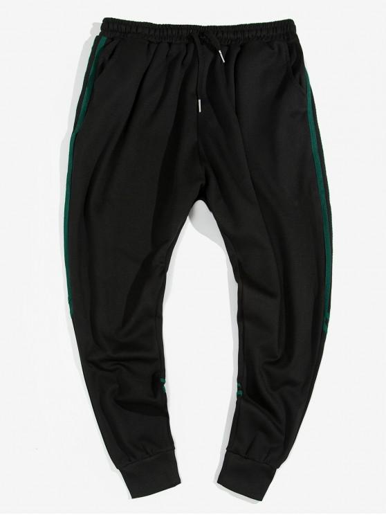 women's Striped Trim Drawstring Jogger Pants - BLACK 2XL