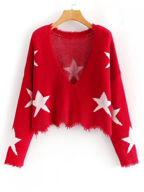 Estrella raído gráfico de onda Hem suéter - Rojo Talla única