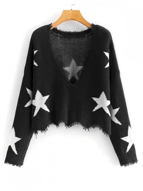 shop Star Graphic Frayed Wave Hem Sweater - BLACK ONE SIZE