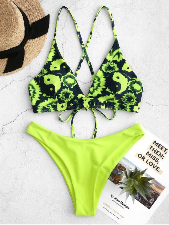 unique ZAFUL Tai Chi Tie Dye Neon High Cut Cross Bikini Swimsuit - CHARTREUSE S