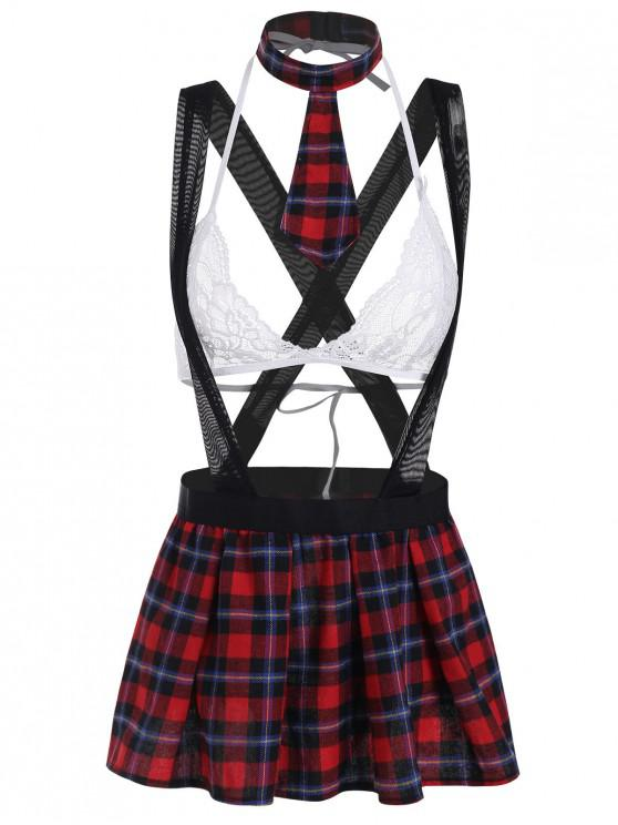 women's Lace Plaid Mesh Strap Student Cosplay Costume Set - WHITE XL