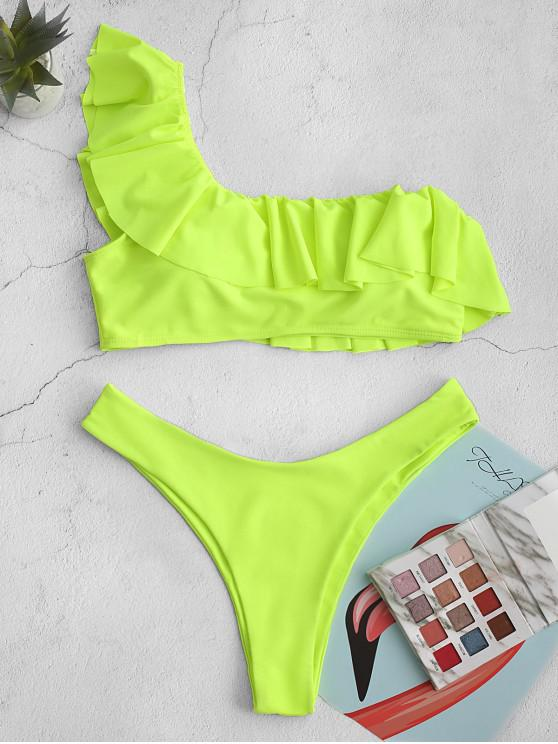 sale ZAFUL One Shoulder Ruffle High Leg Bikini Swimsuit - GREEN YELLOW L