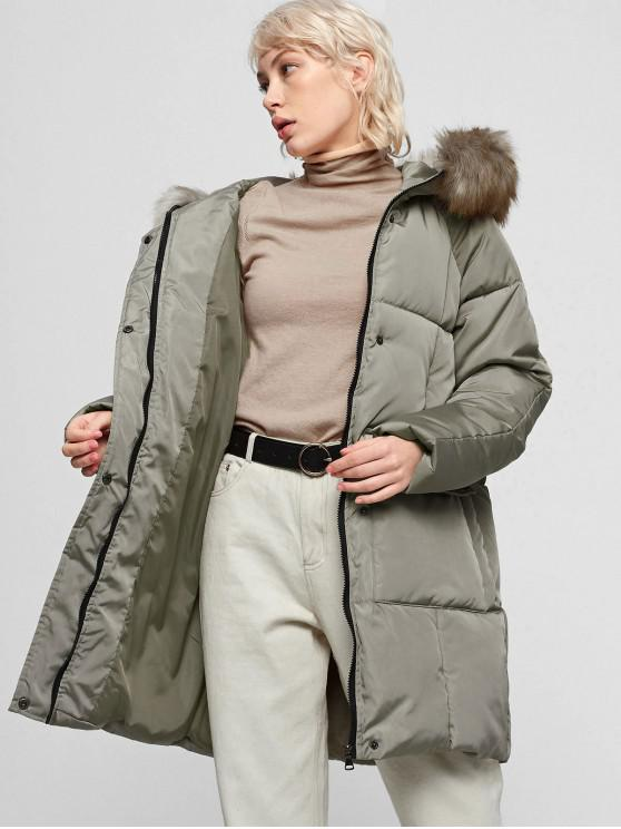 shop Faux Fur Collar Hooded Zipper Puffer Parka Coat - ARMY GREEN 2XL