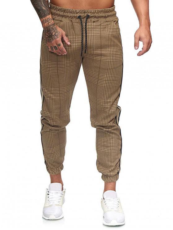 trendy Houndstooth Print Drawstring Jogger Pants - MULTI-A 3XL