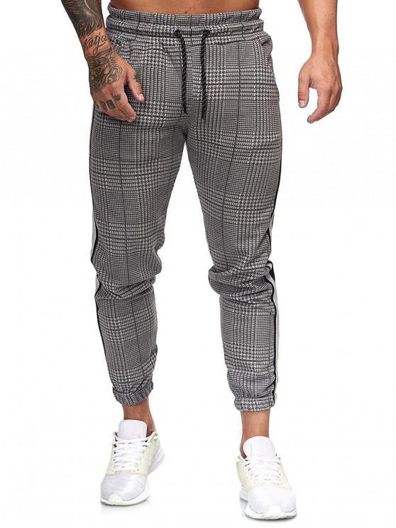 fashion Houndstooth Print Drawstring Jogger Pants - MULTI-B M