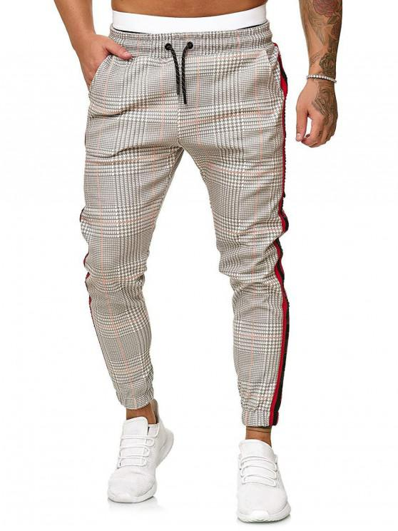 affordable Houndstooth Print Drawstring Jogger Pants - MULTI-C M