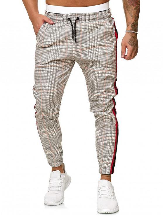 womens Houndstooth Print Drawstring Jogger Pants - MULTI-C XL