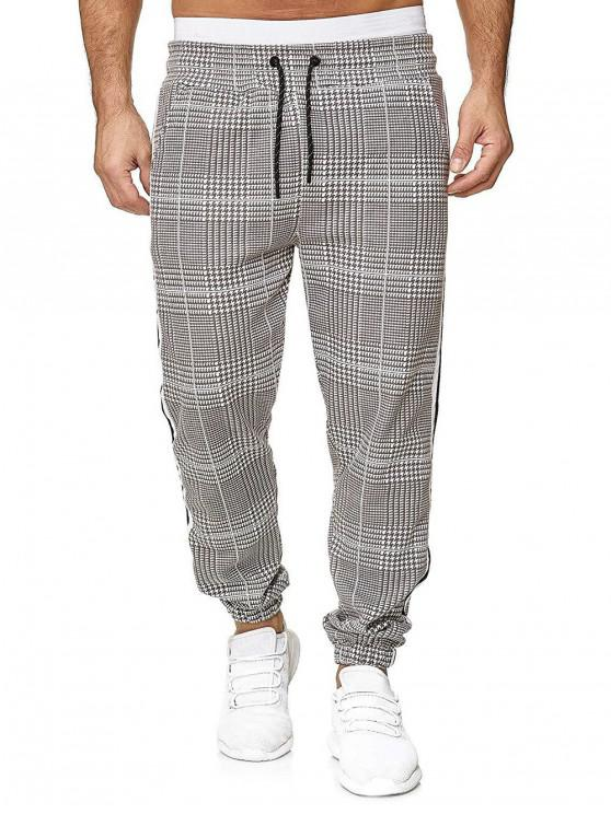 outfit Houndstooth Print Drawstring Jogger Pants - MULTI-E L
