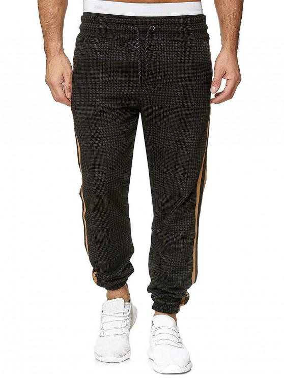 fancy Houndstooth Print Drawstring Jogger Pants - MULTI-F 3XL