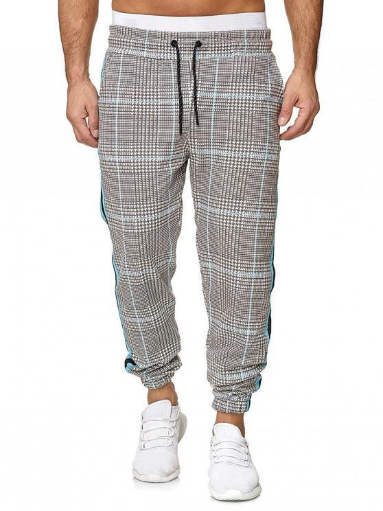 buy Houndstooth Print Drawstring Jogger Pants - MULTI-G 2XL