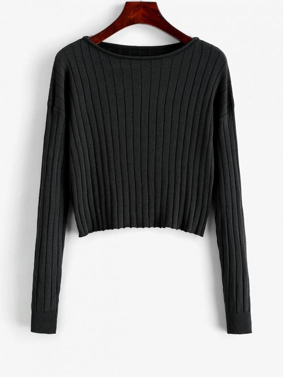 lady Drop Shoulder Slash Neck Cropped Sweater - BLACK S