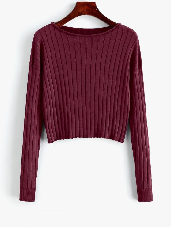 fancy Drop Shoulder Slash Neck Cropped Sweater - FIREBRICK M