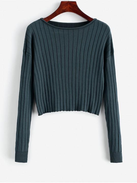 ladies Drop Shoulder Slash Neck Cropped Sweater - DARK FOREST GREEN M