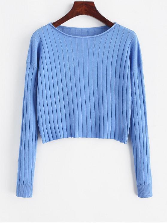 Gota del hombro de la raya vertical del cuello recortada suéter - Azul S