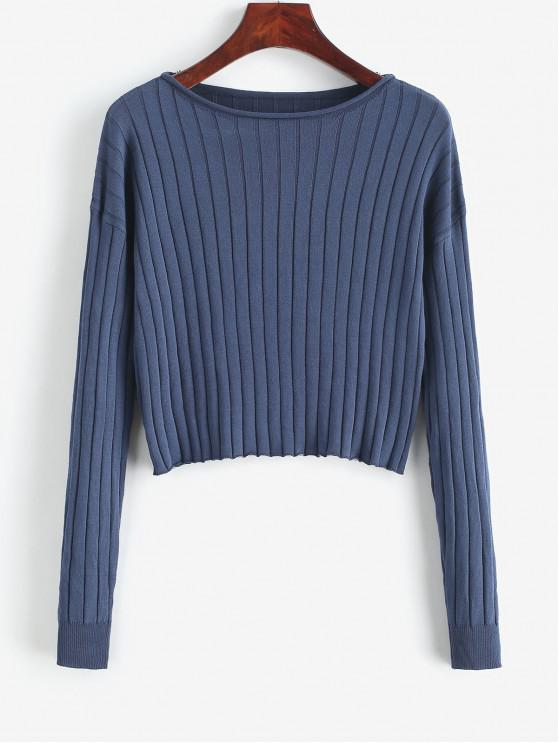 womens Drop Shoulder Slash Neck Cropped Sweater - DARK SLATE BLUE S