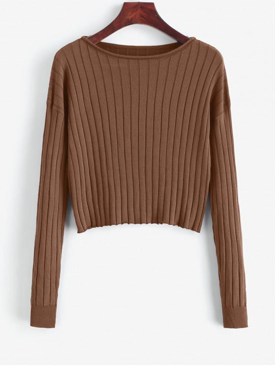 affordable Drop Shoulder Slash Neck Cropped Sweater - SEPIA M