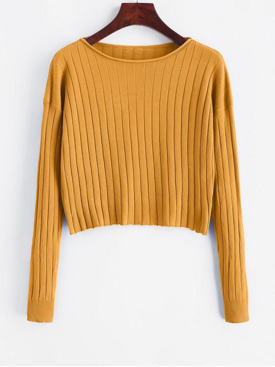 Gota del hombro de la raya vertical del cuello recortada suéter - Amarillo S