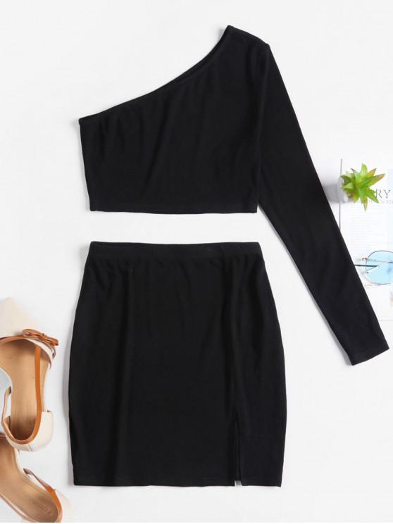 latest ZAFUL Ribbed One Shoulder Slit Bodycon Skirt Set - BLACK S